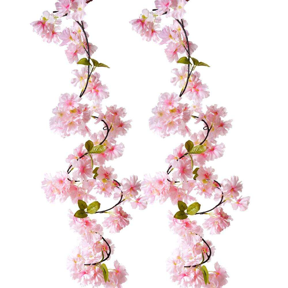 Artificial Cherry Blossom Vine Pink Petal Flower Forever Plant Garland for Art Home Decoration Wedding Party Garden Office 2 Pac