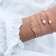 gold settings without stone pearl bead stack bracelet set