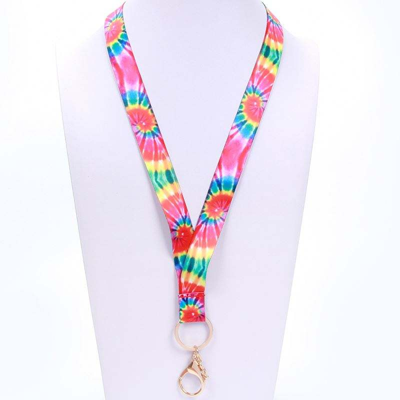 Customized fashion design colorful flower heat transfer printing lanyard