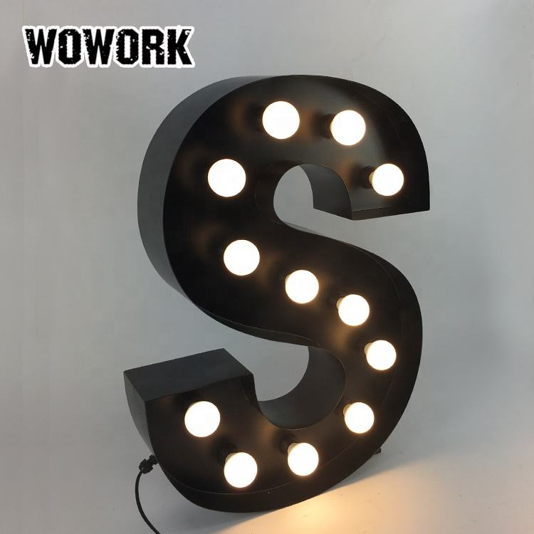 WOWORK luminous vintage marquee lights led metal letter lighting words lamp for store