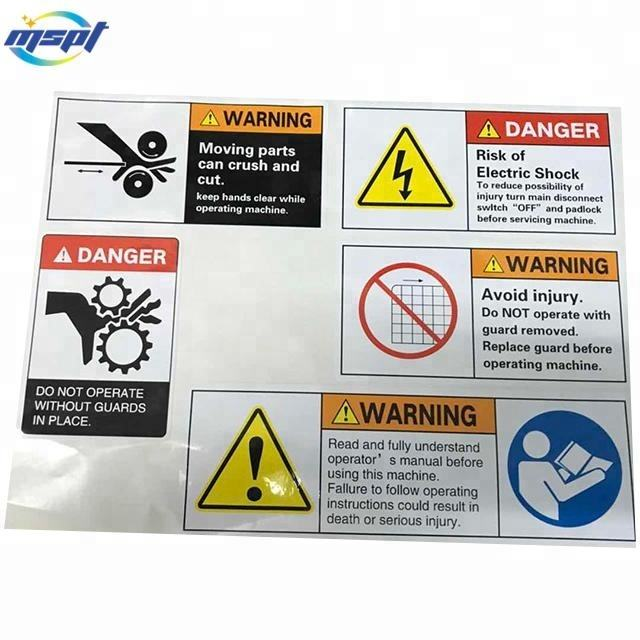 Digital printing custom weatherproof UV resistant outdoor use warning labels stick on machine for workers safety