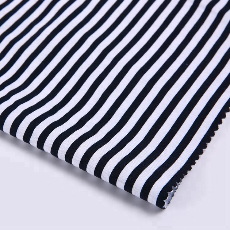 Black and white stripe 95% cotton 5% custom fabric cotton single jersey printed for dresses shirt