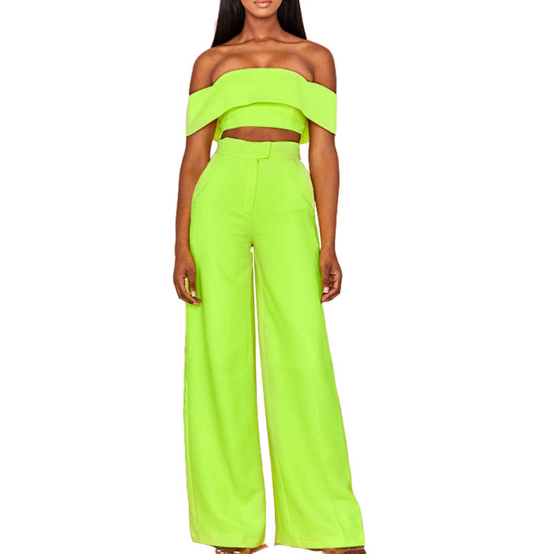 Neon Green Wide Leg High Waist Trousers With Off Shoulder Bandeau Top Two Piece Set Women Wear
