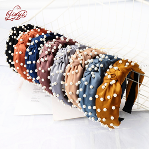 Women Wide 7cm x 5pcs Cloth Cross Knot Pearl Hair Hoop Hairband Headband Hair Accessories