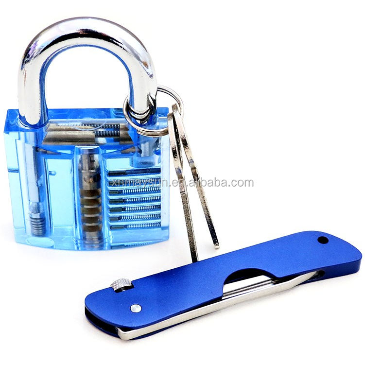 Pocket knife Practice Lock for Locksmith Learning Transparent lock stainless steel multi Folding broken key set tools