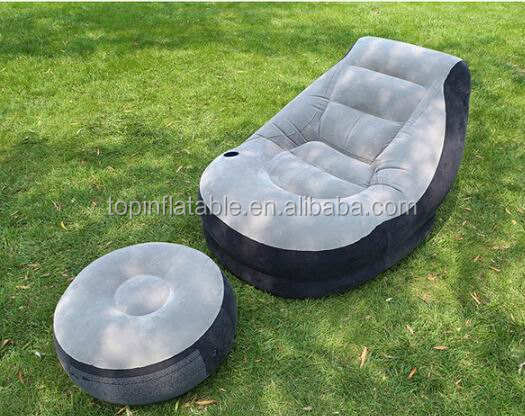 Indoor inflatable air lounge sofa bed living room inflatable lazy sofa air chair with foot rest