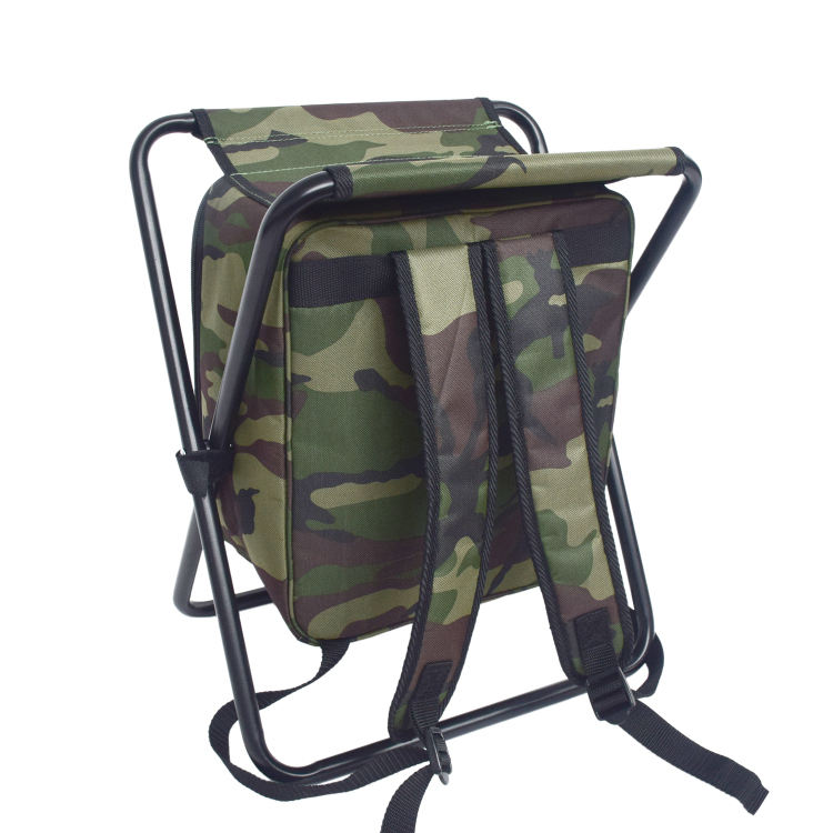 Outdoor Multifunction Portable Lightweight Backpack Foldable Fishing Chair with Cooler Bag