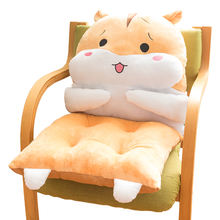 Soft cartoon hamster plush cushion lumbar cushion back support seat cushion