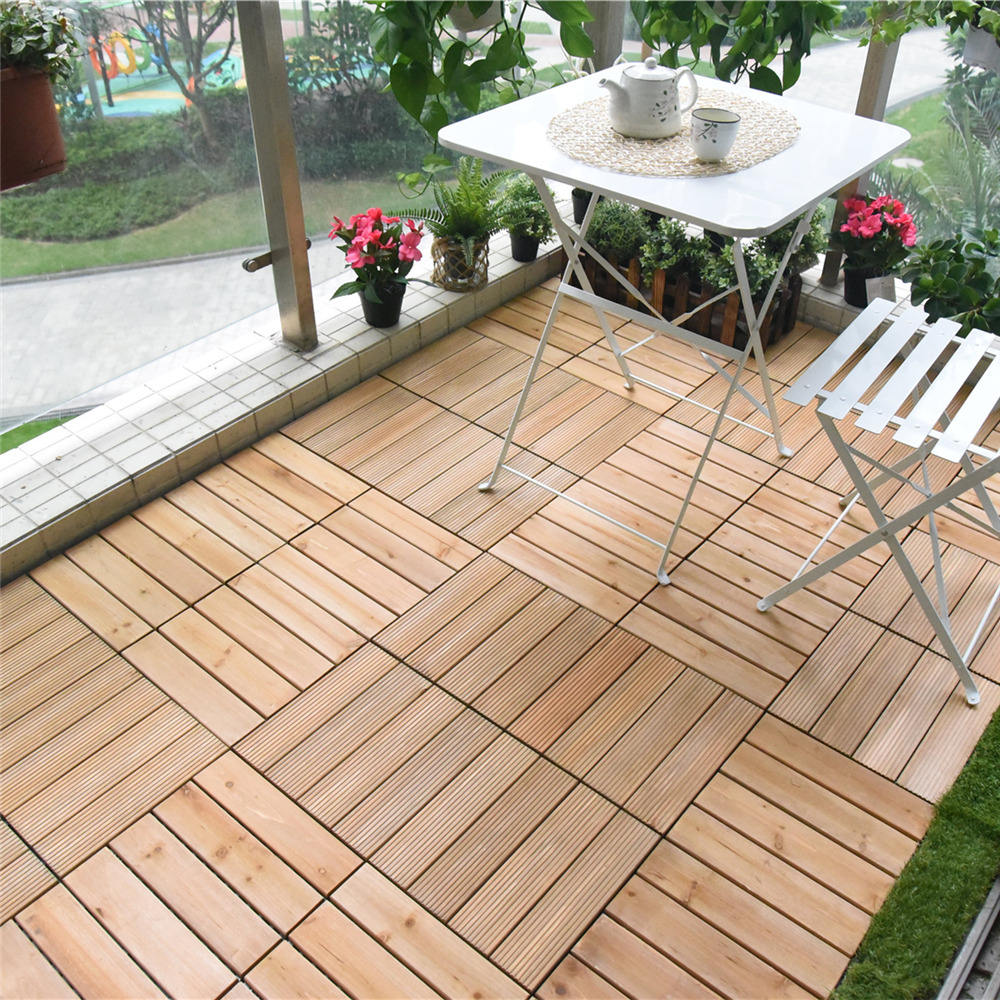 CE certificated lego technic new hardwood fir wooden decking tiles flooring for outdoor