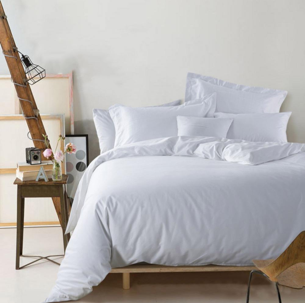 Wholesale custom home feeling white cotton hospital bedding, single bed sheets set for hotel