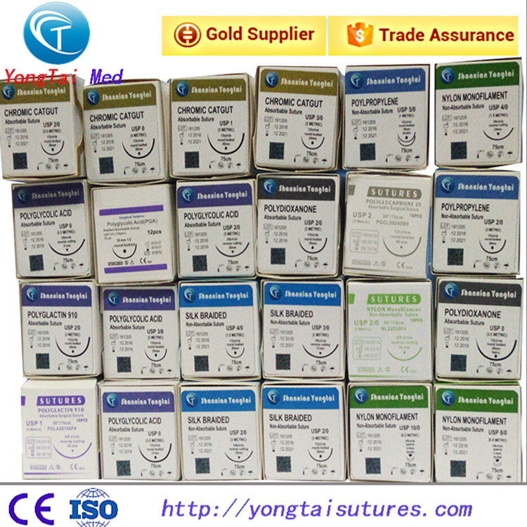 High Quality Disposable professional surgical suture PGA,PDSII, SILK NYLON
