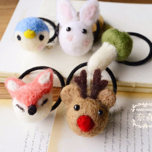 Nesson Jewelry new products Heart Woolen Felt Cute Animal Chinchilla Koala Fawn Bunny Hair Strap Fs08