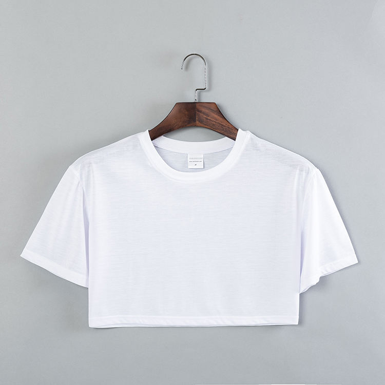 Low MOQ Blank White Short Sleeves Soft Polyester Women's Cropped Tops T-shirts for Custom Logo Sublimation Print and Embroidery