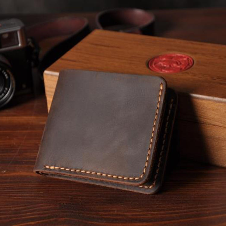w9424a High Quality Handmade Crazy Horse Genuine Leather Wallet