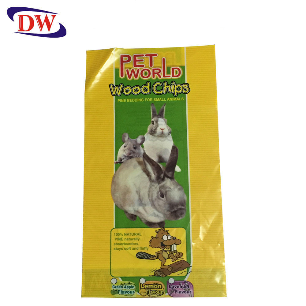 recycle custom full printing pe plastic pet's wood chips packaging bag