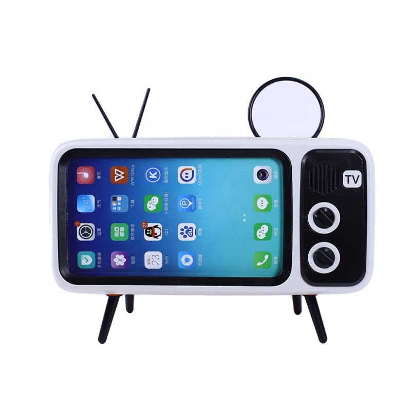 Wireless V4.2 Retro TV Style Mini Portable Bluetooth Speaker With Phone Holder