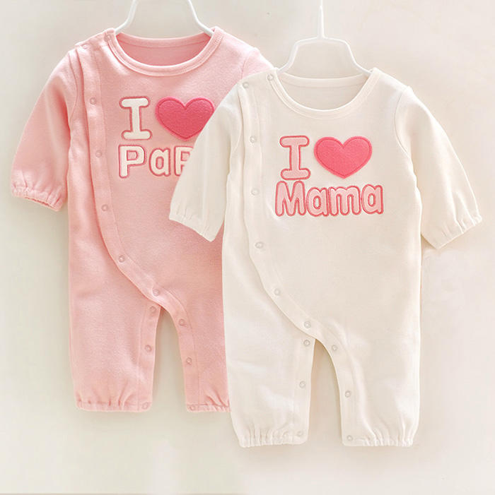 wholesale spring autumn kids wear love Mom and Dad series 100% cotton infant baby Unisex Clothes