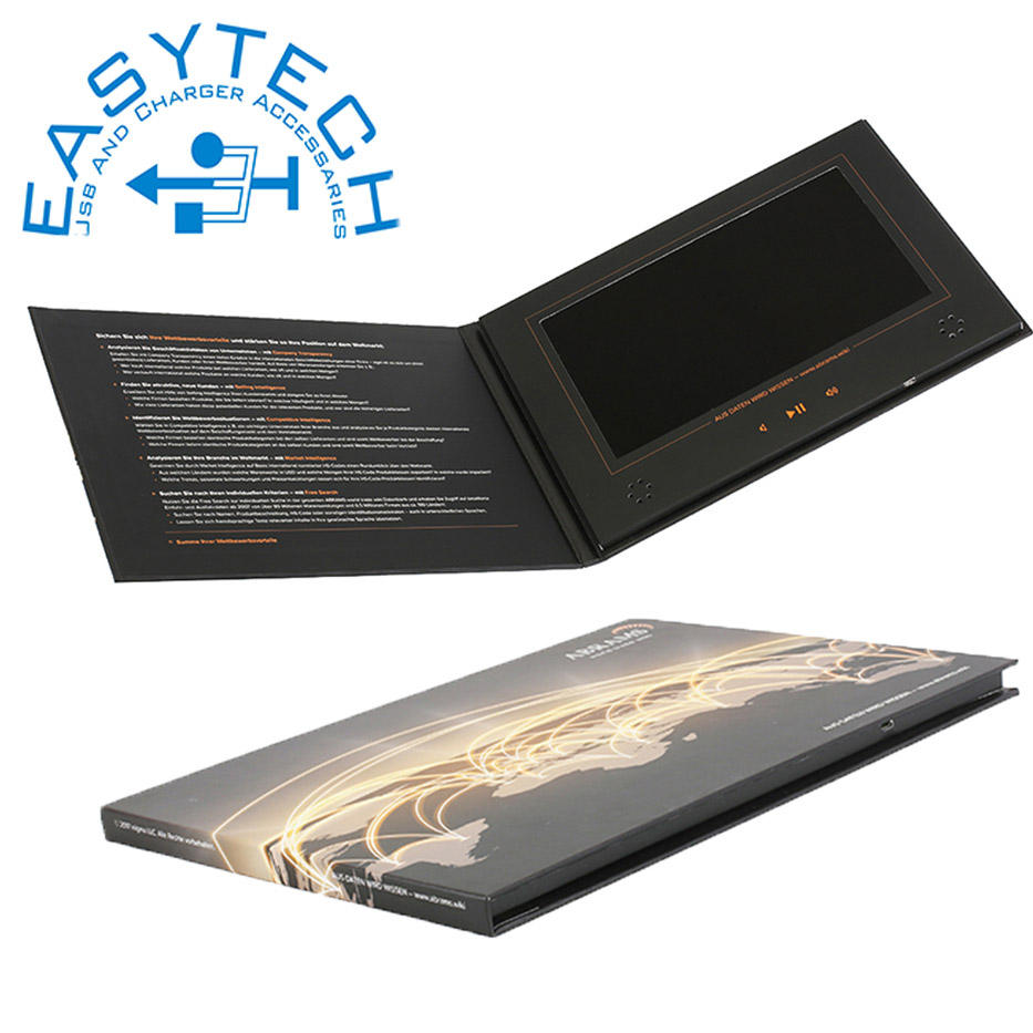 "Et-digital OEM Artificial TFT 7"" hd technology lcd video in print advertising video brochure 7 lcd video marketing books"