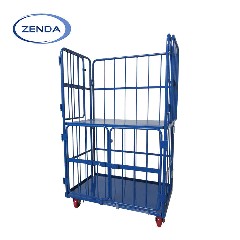 Foldable metal powder coated cargo storage roll container steel cage