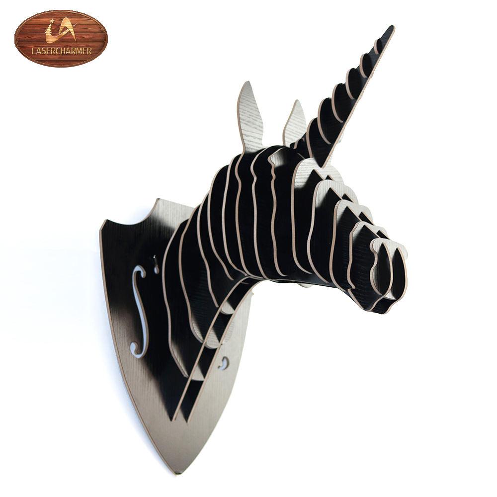 2018 vogue pared finura bolsillo unicornio forma negro animal artesanías para decoración del hogar