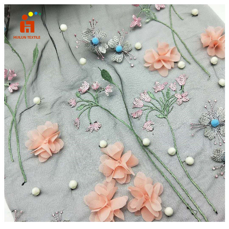 HLS159# applique embroidery designs hand 3D flower applique embroidery