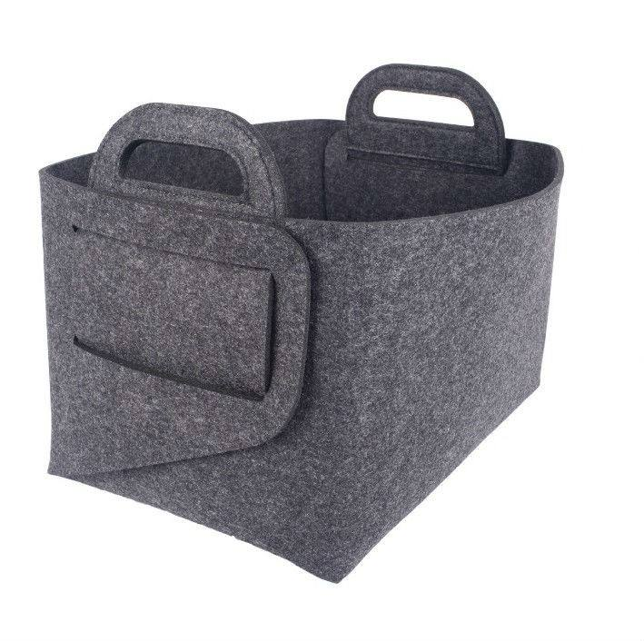 OEM high quality polyester felt fabric durable foldable colorful toy storage felt basket box with handle