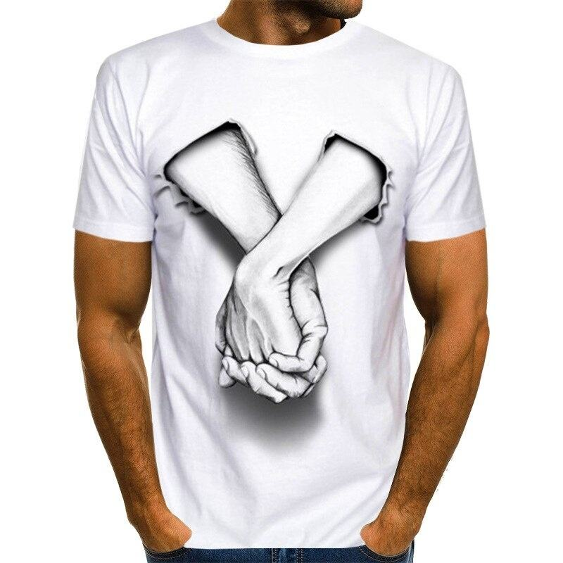 Funny Tshirt Fashion White Polyester Tshirt Hands Printed Casual Tshirt Mens White Color Printed T-shirt Custom