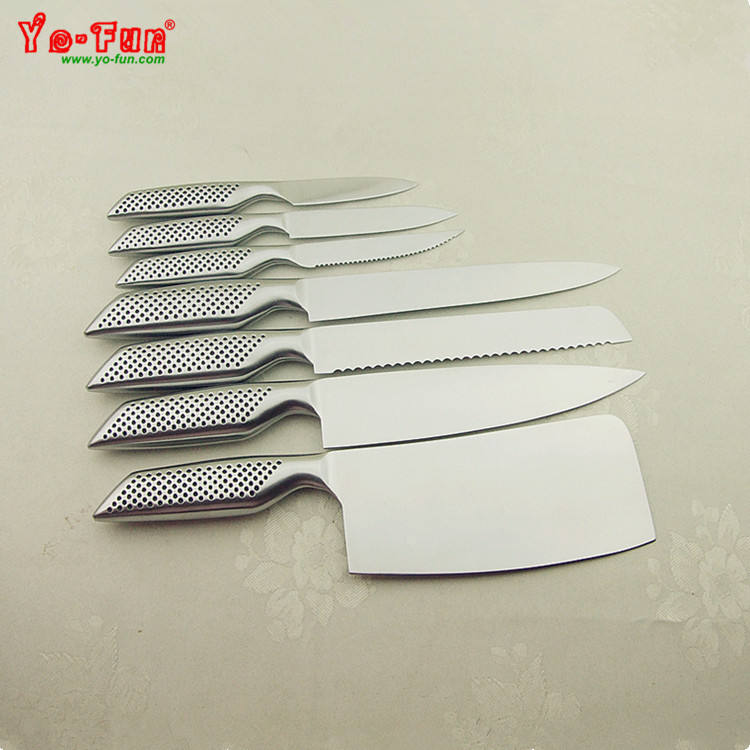 GJH210 USA FBA hollow handle high quality LFGB stainless steel 7pcs knife set