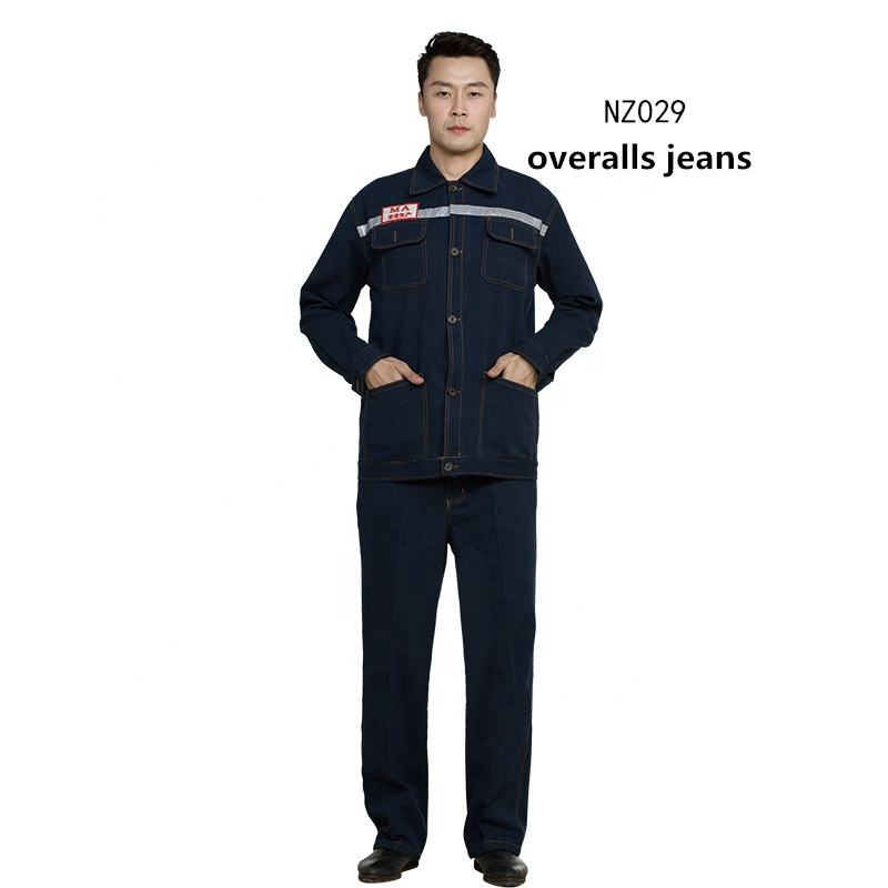 2018 Overalls suit male engineering services jeans denim mining labor insurance clothes wear long-sleeved clothing