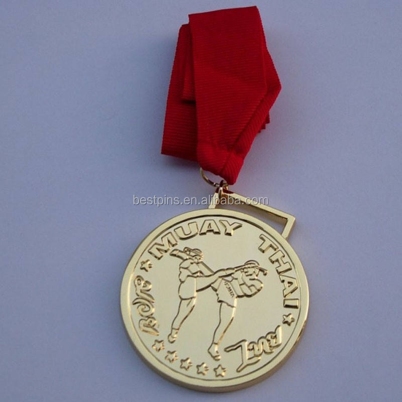 custom embossed gold plated MUAY THAI medals medallion with red ribbon