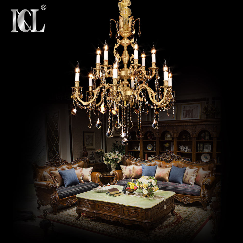 hot sell 2021 baroque high quality luxury copper brass Asfour crystal chandeliers