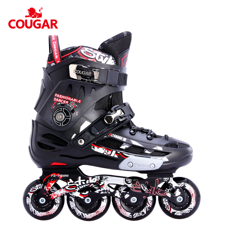 Fixed size COUGAR four wheel slalom freestyle high quality inline roller skates boot