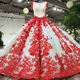 LS93241 red applique flower two piece cap sleeve full length special occasions designer evening prom dresses