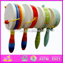 2015 new design baby wooden rattle drum,handing infant bed bell wooden rattle drum,toy wooden rattle drum WJ278431