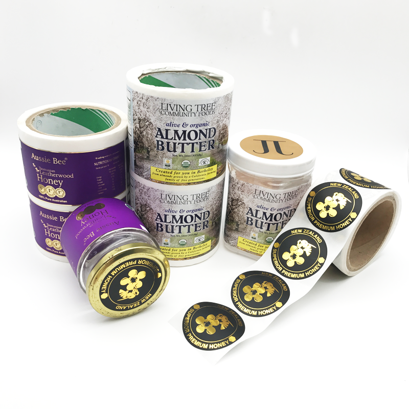 Gedrukt Custom Gold Folie Hot Stamping Logo Etiketten Zelfklevende Jar Jam Sabotage Proof Seal Sticker Roll