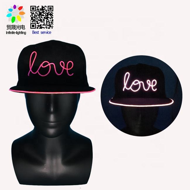 Customized ODM service snapback hat led party hats with word LOVE