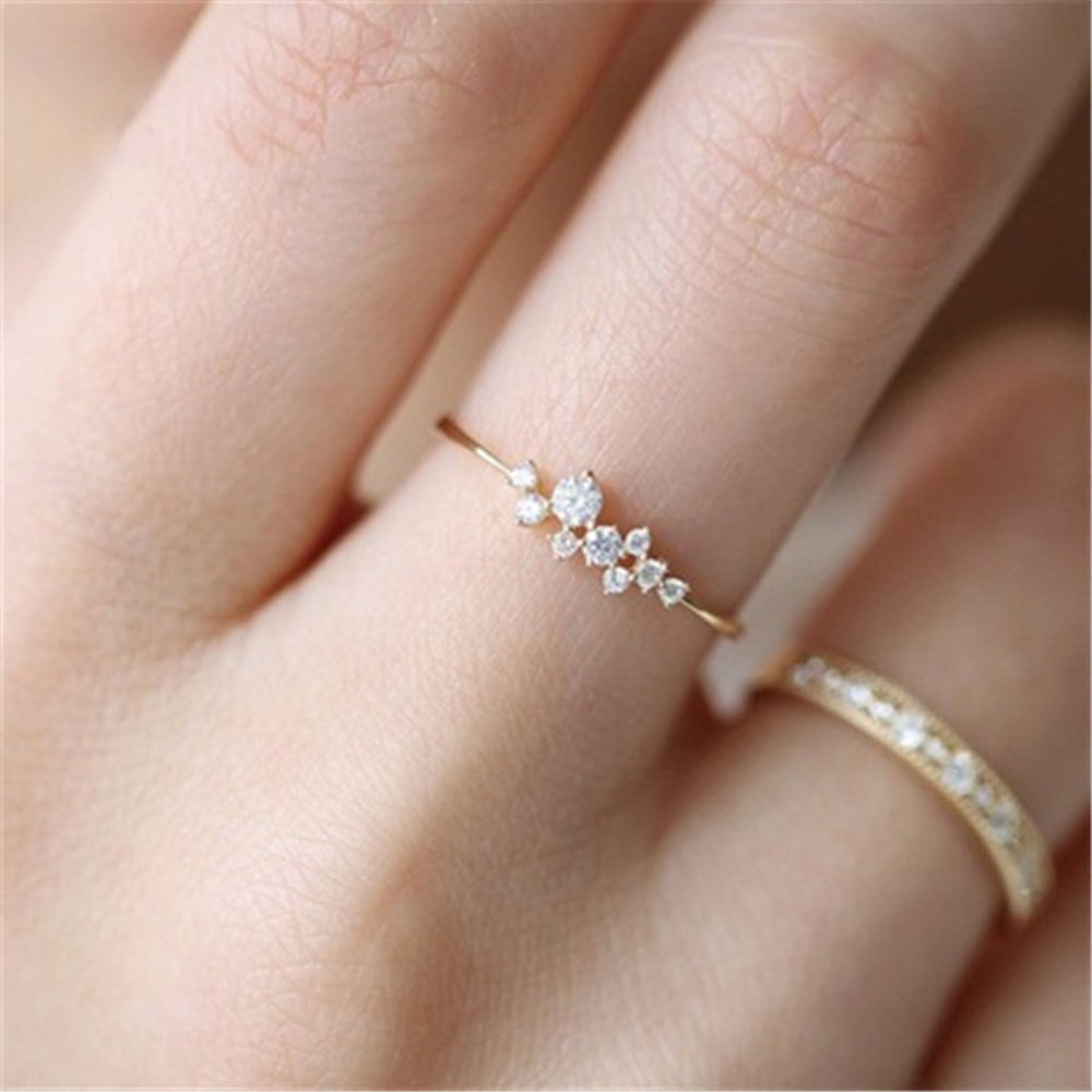 Stylish Fashion Women Ring Finger Jewelry Rose Gold Sliver Gold Color Rhinestone Crystal Opal Rings