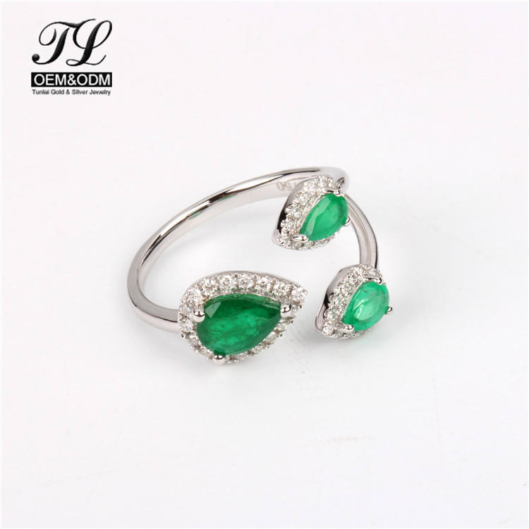 High quality 14 k gold and cz emerald stone rings+14 kt genuine gold rhinestone wedding ring