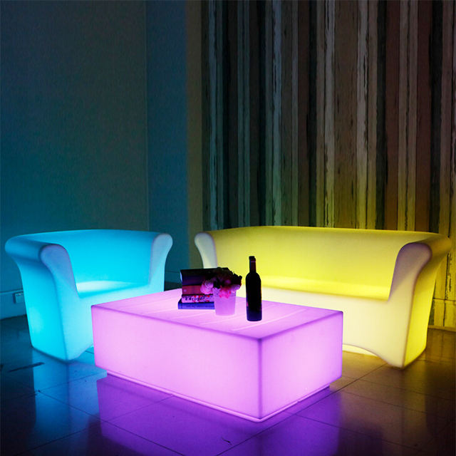Plastik diterangi tahan air led cahaya sectional sofa set