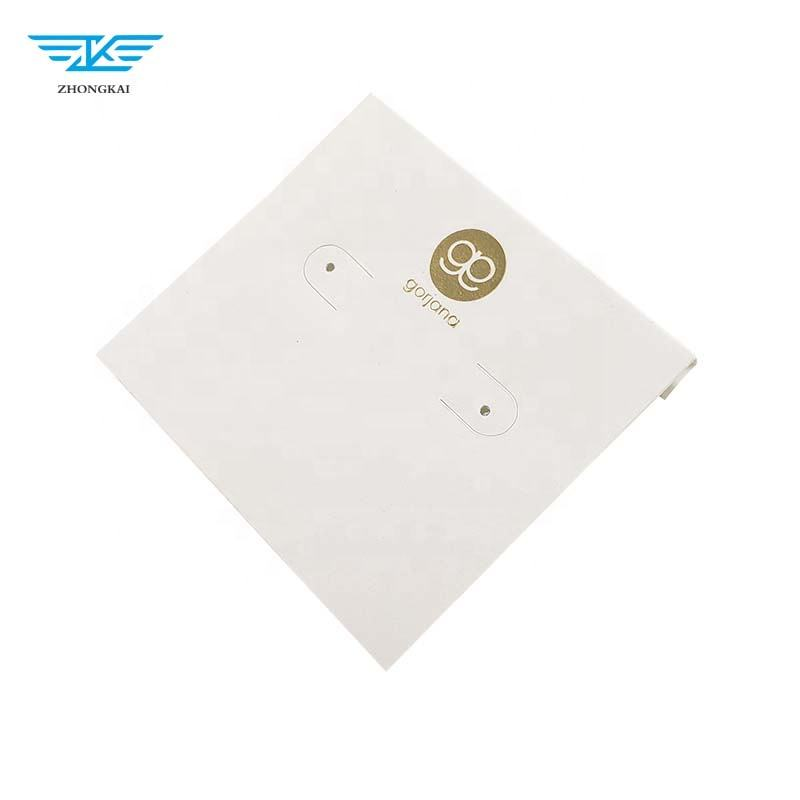 White Plastic jewelry card with logo covered with White Paper
