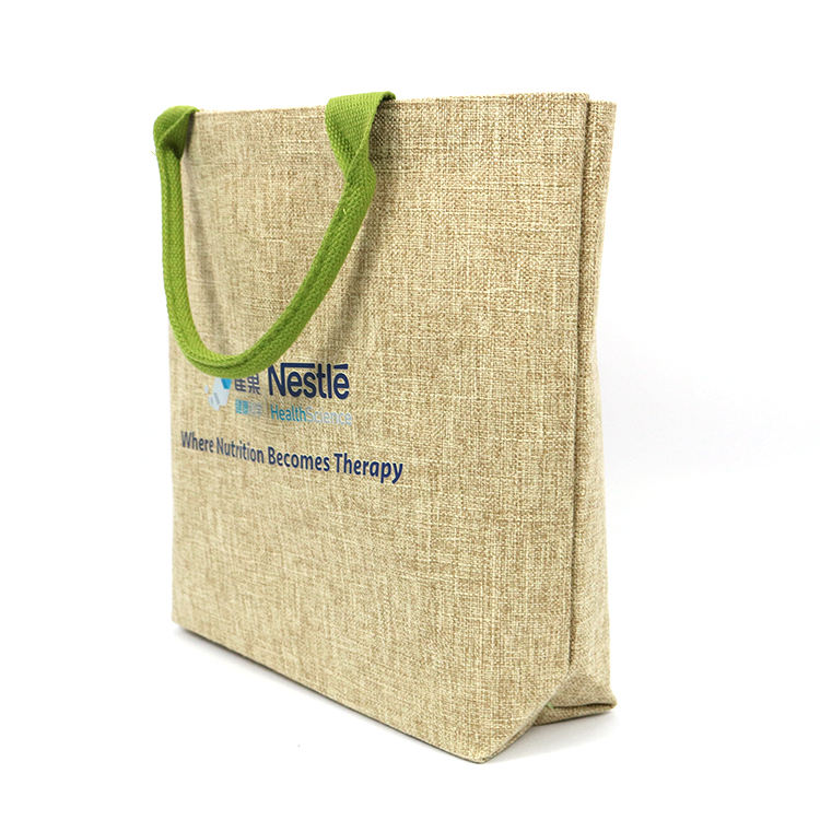 Wholesale reusable eco friendly custom printed jute shopping tote bag with green handle