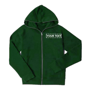 NO MOQ Cheap Custom Mens Zip Up Fleece Green Hoodies With Free Embroidery Design Logos