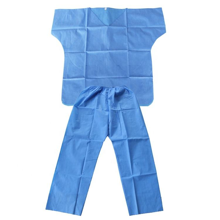 Twinset design non woven material disposable v-neck scrub suit short sleeve