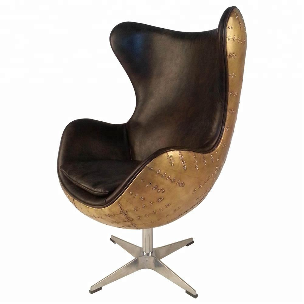 Brass Antique Real Cowhide Genuine Leather Aviation Retro Chair Spitfire Vintage Industrial