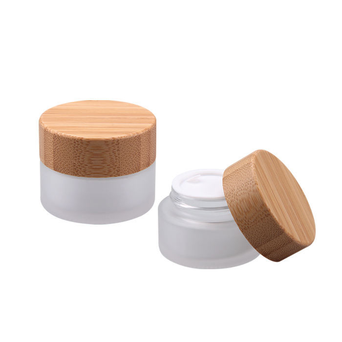 Hot Sale Eco Friendly Custom Logo 50g 100g Empty White Matt Frosted Wooden Bamboo Lid Cap Glass Face Cream Jar