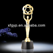 Supply Golden Metal Statue Metal Trophy Cup With Black Crystal Base Made in Shenzhen