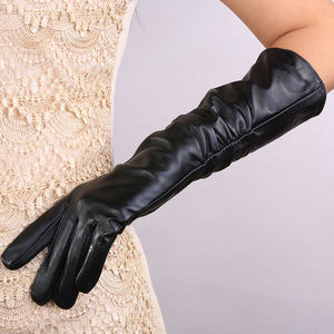 Popular lady long sleeve party touch screen leather gloves