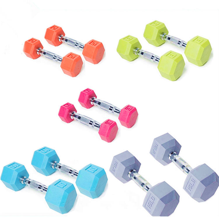 Manufacturer wholesale cheap price color rubber hex dumbbell weights with logo