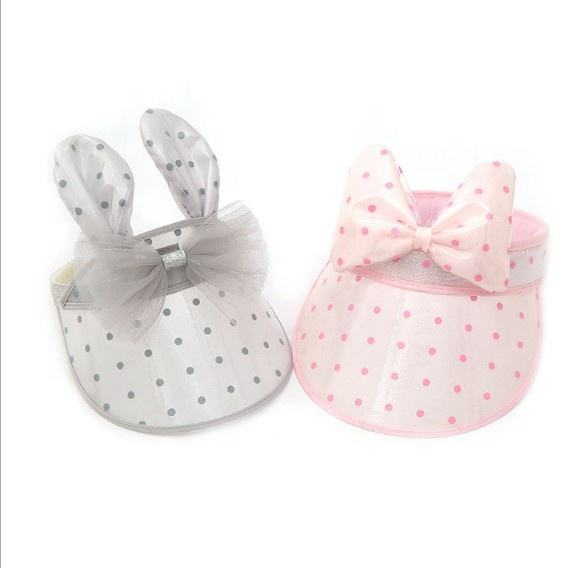 2020 new color dot lovely toddler girls summer hat kids children PVC cute bowknot rabbit ears outdoor baby cap