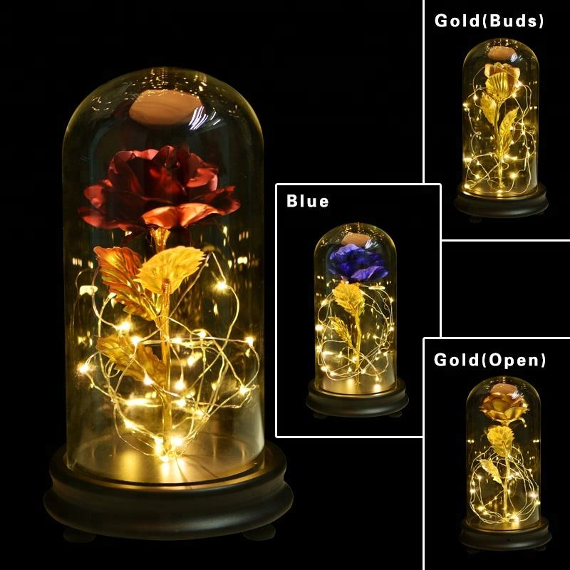 New Products Beauty 24k Gold Foil Rose Wholesale Golden Roses Flower 24k Gold Plated Rose With Led Lights In Glass Dome For Gift